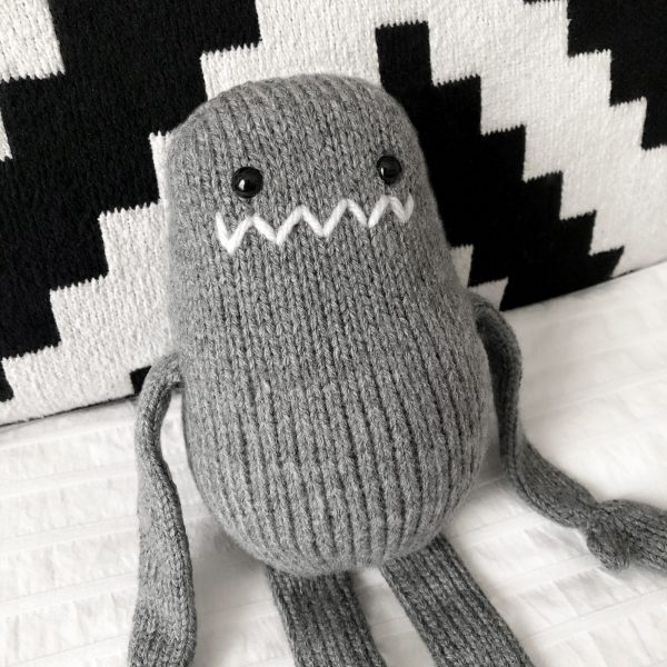 made by Adrian Rae • Gray Regular Sock Monster Closeup 2