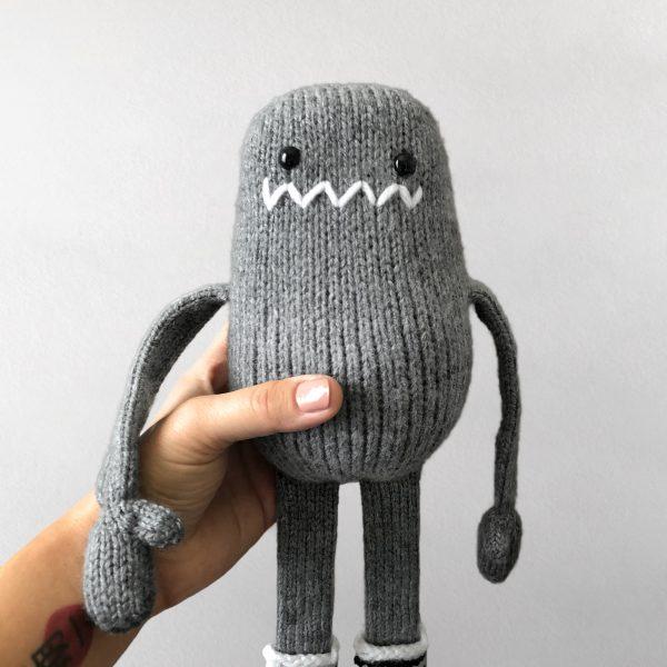 made by Adrian Rae • Gray Regular Sock Monster Closeup