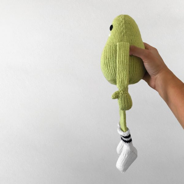 made by Adrian Rae • Green Regular Sock Monster Side View