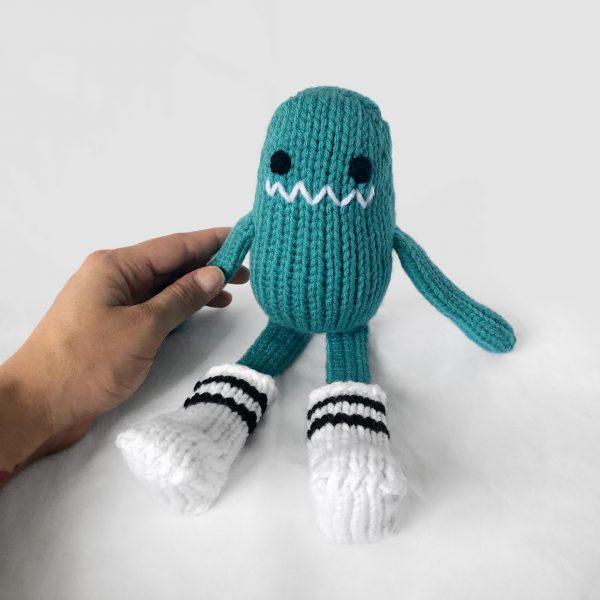 made by Adrian Rae • Ready to Ship Aqua Sock Monster