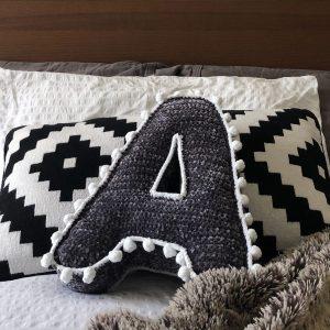 made by Adrian Rae • Velvety Letter Pillow • Bobble Trim