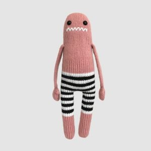 made by Adrian Rae • Ready to Ship • Pink Striped Pants Monster • Front